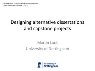 Designing alternative dissertations and capstone projects