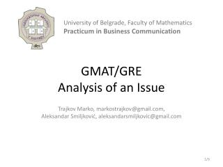 GMAT/GRE  Analysis of an Issue