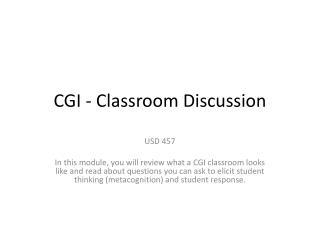 CGI - Classroom Discussion