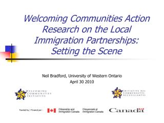 Welcoming Communities Action Research on the Local Immigration Partnerships:  Setting the Scene