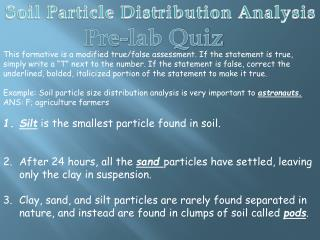 Soil Particle Distribution Analysis