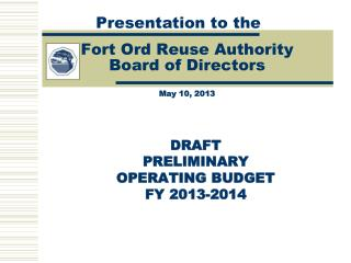 Fort Ord Reuse Authority  Board of Directors May 10, 2013