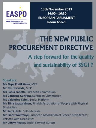 THE NEW PUBLIC  PROCUREMENT DIRECTIVE