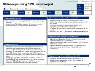 Statusrapportering  DIPS Hovedprosjekt