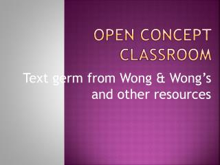Open concept classroom