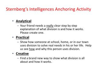 Sternberg�s Intelligences Anchoring Activity