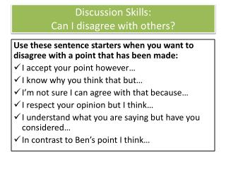 Discussion Skills:  Can I disagree with others?