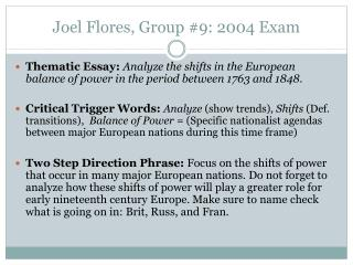 Joel Flores,  Group  #9: 2004  Exam