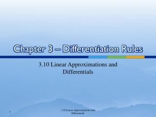 Chapter 3 – Differentiation Rules