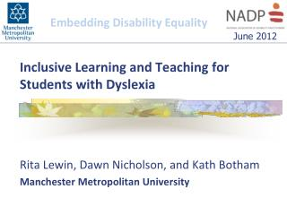 Inclusive Learning and Teaching for Students with Dyslexia