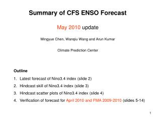Latest forecast of Nino3.4 index (slide 2) Hindcast  skill of Nino3.4 index (slide 3)