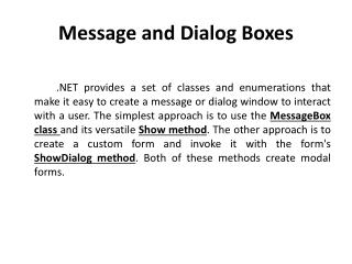 Message and Dialog Boxes