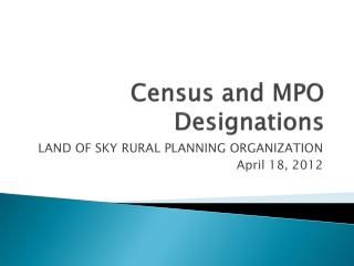 Census and MPO Designations