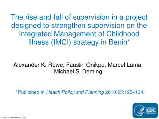 * Published  in  Health Policy and Planning 2010;25:125�134.
