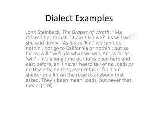 Dialect Examples