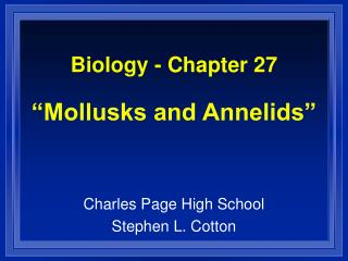 Biology - Chapter 27   Mollusks and Annelids