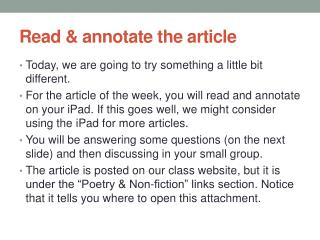 Read & annotate the article
