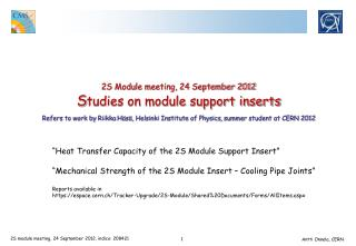 """Heat  Transfer Capacity of the  2S  Module Support  Insert"""