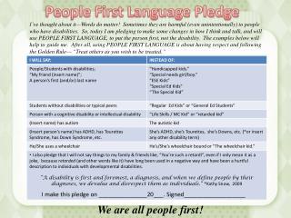 People First Language Pledge