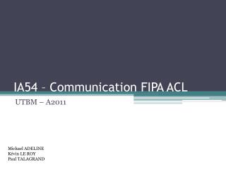 IA54 – Communication FIPA ACL