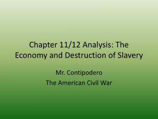 Chapter 11/12 Analysis: The Economy and Destruction of Slavery