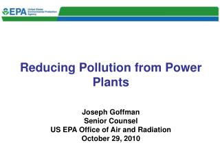 Reducing Pollution from Power Plants