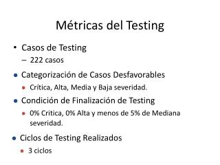 Métricas del Testing