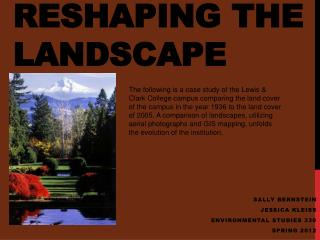 Reshaping the Landscape