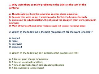 progressive era overview reading questions