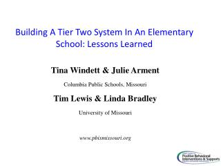Building A Tier Two System In An Elementary School: Lessons Learned