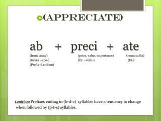 ( Appreciate ) ab    +    preci    +    ate