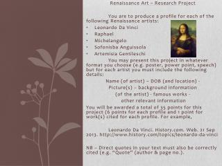 Renaissance Art – Research Project