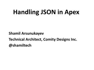 Handling JSON in Apex