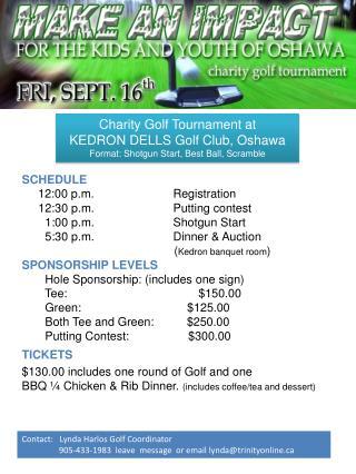 Charity Golf Tournament at KEDRON DELLS Golf Club, Oshawa