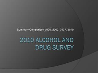 2010 Alcohol and Drug Survey