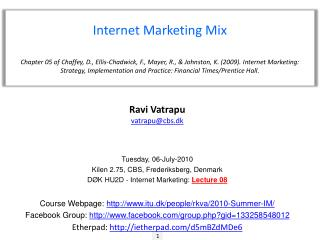 Internet Marketing Mix