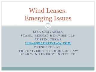 Wind Leases:  Emerging Issues