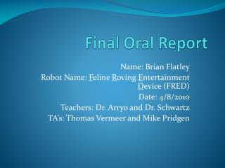Final  Oral Report