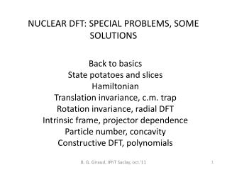 NUCLEAR DFT: SPECIAL PROBLEMS, SOME SOLUTIONS