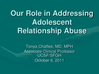 Our Role in Addressing Adolescent Relationship Abuse