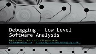 Debugging – Low Level  Software  Analysis