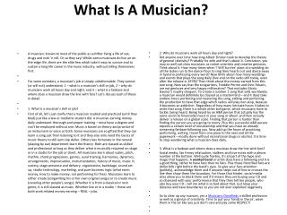 What Is A Musician?