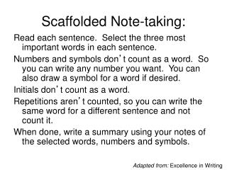 Scaffolded  Note-taking :