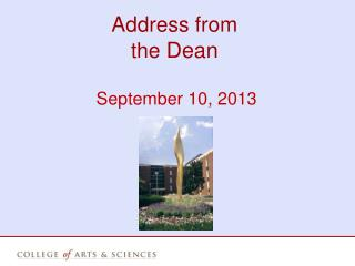 Address from the  Dean