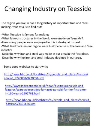 Changing Industry on Teesside
