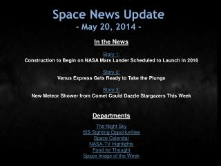 Space News Update -  May 20,  2014  -