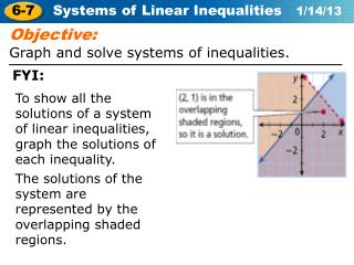 Objective: Graph and solve systems of inequalities.