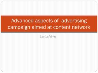 Advanced aspects of  advertising campaign aimed at content network