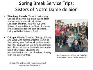 Spring Break Service Trips: Sisters of Notre Dame de Sion