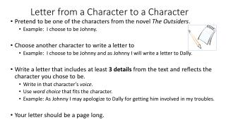 Letter from a Character to a Character